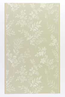 "Pale green ground with faint horizontal lines. Leaf stems of flowers in two lighter shades and white. Straight repeat, drop match. In margin: ""Licht- bestandig 5135""."