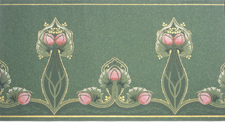 Stylized floral motifs. Pairs of two on long stems, alternating with group of three on short stem. Each grouping is outlined in gold. Printed on green oatmeal paper.
