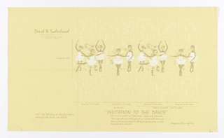 """Against a pale yellow ground, faintly textured in a lighter value, are printed a horizontal line of young girls, in white """"tutus"""", in classical ballet positions. Printed information gives manufacturer, designer, dimensions, etc. Children's paper for a girl."""