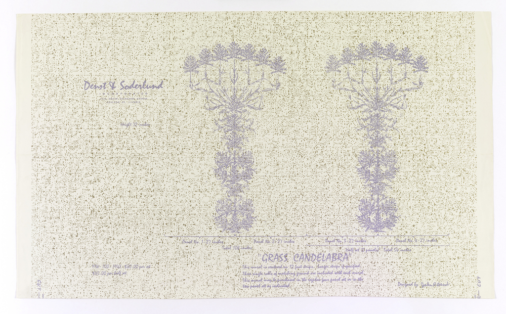 Against a cream-colored ground, spattered with gold, are printed two symetrical, imagery grassy plants in the shape of 7-branched candelabra. Printed in light purple. Printed information gives manufacturer, designer, dimensions, etc.