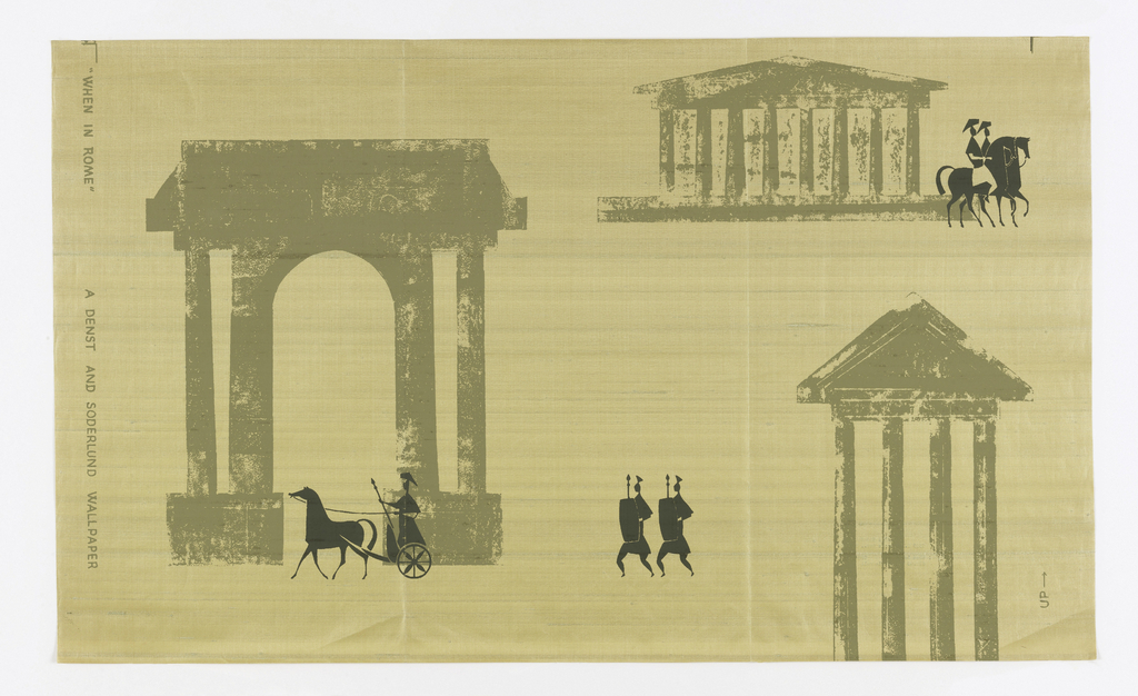 Against a paper-backed gold silk ground are printed simplified classical buildings and ruins, figures of warriors marching, riding in chariots, or on horseback. Printed in very dark and light value of the same grayed green.