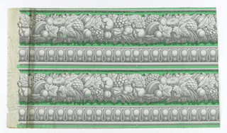 Wide band of fruit with narrower band of architectural molding beneath. Printed in grisaille green ground. Printed two borders across width.