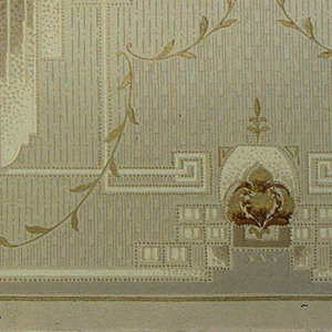 Stylized floral motif within a geometric ornament. These ornaments are separated by a scrolling laurel vine. A similar motif without the ornament rests on bottom edge. Printed in metallic gold and tan. THe background shades to darker towards bottom of paper.