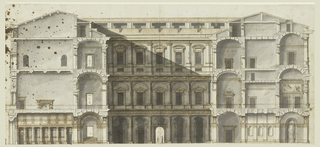 Section of a large, three-story building.  Section through the middle line of the court, the vestibule being at the left.  The elevation of the southeastern side of the court and section of the main and the rear wings are shown.  Measurements are inscribed.