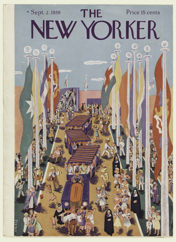 Magazine cover. View down the midway of the entrance to the 1939 New York World's Fair. A car-train shuttles groups of visitors at center, many figures grouped throughout composition including sailors, nuns, men, women, and children. At left and right, two rows of large flagpoles with flags of different countries. In the distance, view of a mural and further flags, including that of the United States of America.