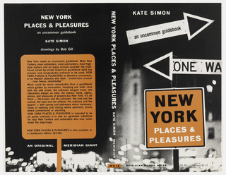 Horizontal rectangle with black and white ground, photograph of New York City highlighting One Way street sign in foreground at right with a blurred background. Orange sign on front cover and orange sign outline with text on back cover.