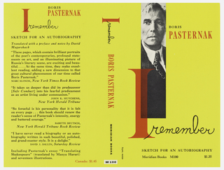 "Cover design for ""I Remember,"" by Boris Pasternak. Black and white sliver of a photograph of a man with partially overlayed red text on yellow ground. Red and black text throughout, the letter ""I"" of the title at large scale, partially printed on photograph, the word ""remember"" of title in printed black script. Back cover contains printed critical reviews."