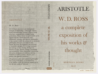 "Cover design for ""Aristotle:  A Complete Exposition of His Works and Thought"" by W. D. Ross. Print of an aged piece of paper in gray stretches from back to front covers, with a blank margin running along the bottom and right side.  ARISTOTLE is printed in black, the author and secondary title in burnt orange. Printed description in black at back cover."