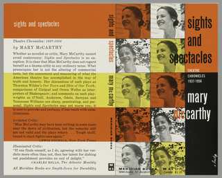 "Cover design for ""Sights and Spectacles: Theatre Chronicles 1937-1956,"" by Mary McCarthy. Ten photos of a woman in grid form along left side of cover in white, orange, and yellow; right side has orange and black ground with white and black text."