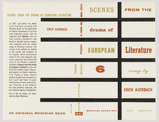 "Cover design for ""Scenes from the Drama of European Literature,"" essays by Erich Auerbach. Cover features red and gold text divided by bold black grid pattern, with each group of words in a different font. Printed black text on back cover with description."