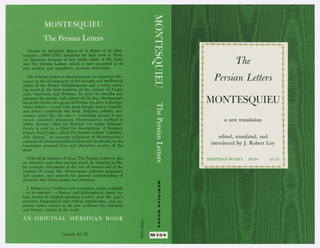 "Cover design fro ""Montesquieu: The Persian Letters"", by J. Robert Loy. Title and author are printed in black on a rectangle of white paper, bordered with bronze colored repeated foliate motif at center of front cover. Black wood grain printed over green background surrounds rectangle of blank paper with title.  Back cover is green with black and white text. Verso: mirrored scene in woodblock style, in green, featuring a camel rider on a covered pavilion and a man leading amid a forest with animals."