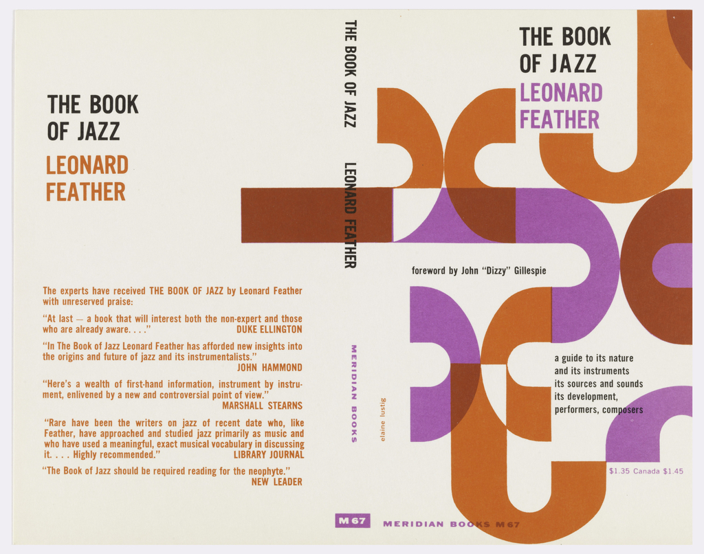 """Cover design for """"The Book of Jazz"""" by Leonard Feather. On white ground, J's in different colors, orange, red, and purple, arranged and overlapping in a variety of directions. Printed critical reviews in orange at back cover."""