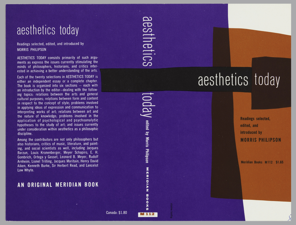 "Cover design for ""Aesthetics Today,"" edited by Morris Philipson. Blue, black, and red forms arranged on white ground, some overlapping and adjacent, with white and black text. Blue form at left edge of front cover continues across spine and back cover. At back cover, printed description in white."