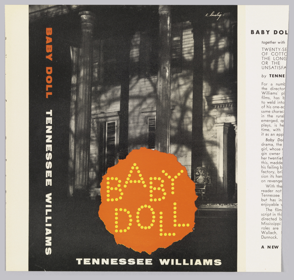 "Cover design for ""Baby Doll"" by Tennessee Williams. Black and white photograph, detail of a house at night, orange round area at bottom center with printed text inside made up of yellow dots. Printed text in white and orange."