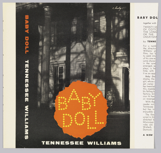 Black and white photograph of a house at night with orange round area with the words: BABY / DOLL made up of dots. In white, lower margin: TENNESSEE WILLIAMS.