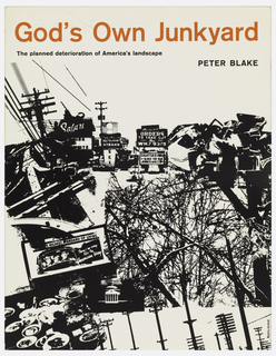 On the lower three quarters of the cover are images of billboards, telephone poles, signage, trees, and highways, printed in black in collage style on white background. Title printed in orange at top, subittle and author name printed in black below.