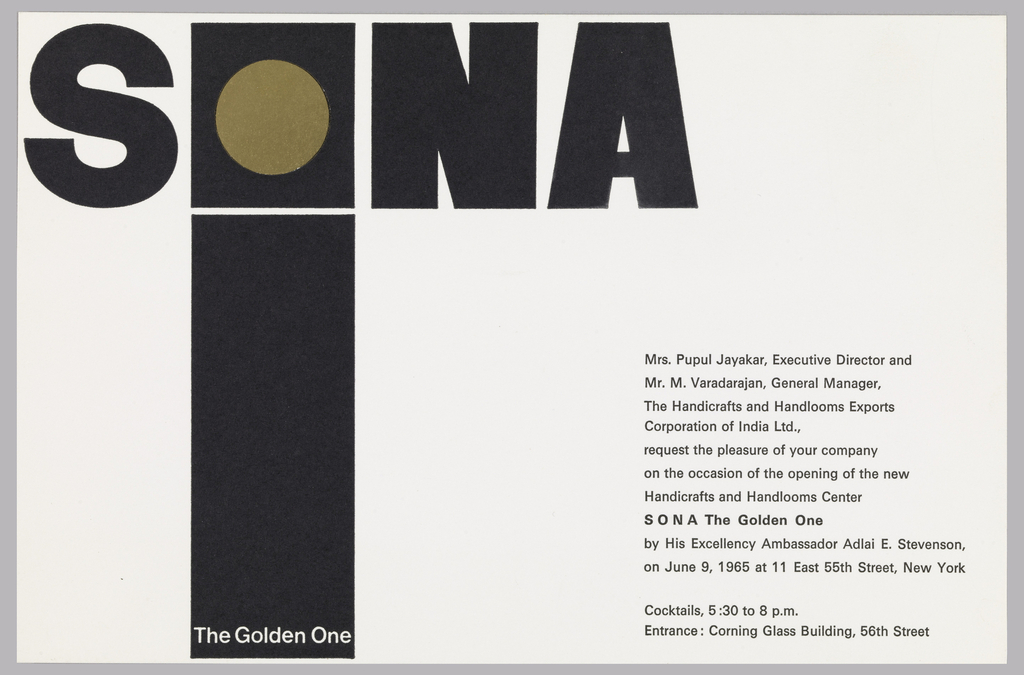 Print, Invitation, Opening of SONA The Golden One, 11 East