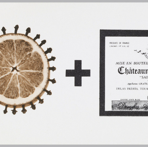 """Horizontal format invitation to Elaine and Arthur Cohen's New Year's Day celebration illustrated with a visual mathematical formula for mulled wine. Three photoillustrated images, with """"+"""" between each in black and orange, are arranged horizontally. At left, a bisected orange pomander, studded with whole cloves. At center, the label for Chateauneuf-du-Pape, a French red wine from the Rhone valley. At right, the label for Courvoisier cognac.  Following the last image, an orange """"="""" appears with the couple's address at right."""