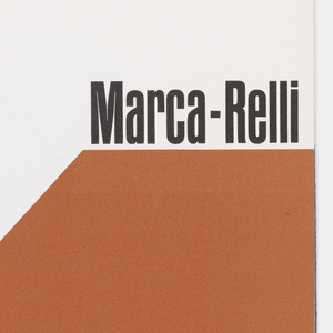 """Tri-fold exhibition brochure for Marca-Relli at Kootz Gallery. On front cover,  a large red-orange """"M"""" occupyies most of the page.  Artist name in black at the top of the rightmost vertical stroke of the """"M"""", with dates in blue at top of the left. Inside are pictures and text about the art. Verso: gallery information and list of artists represented."""