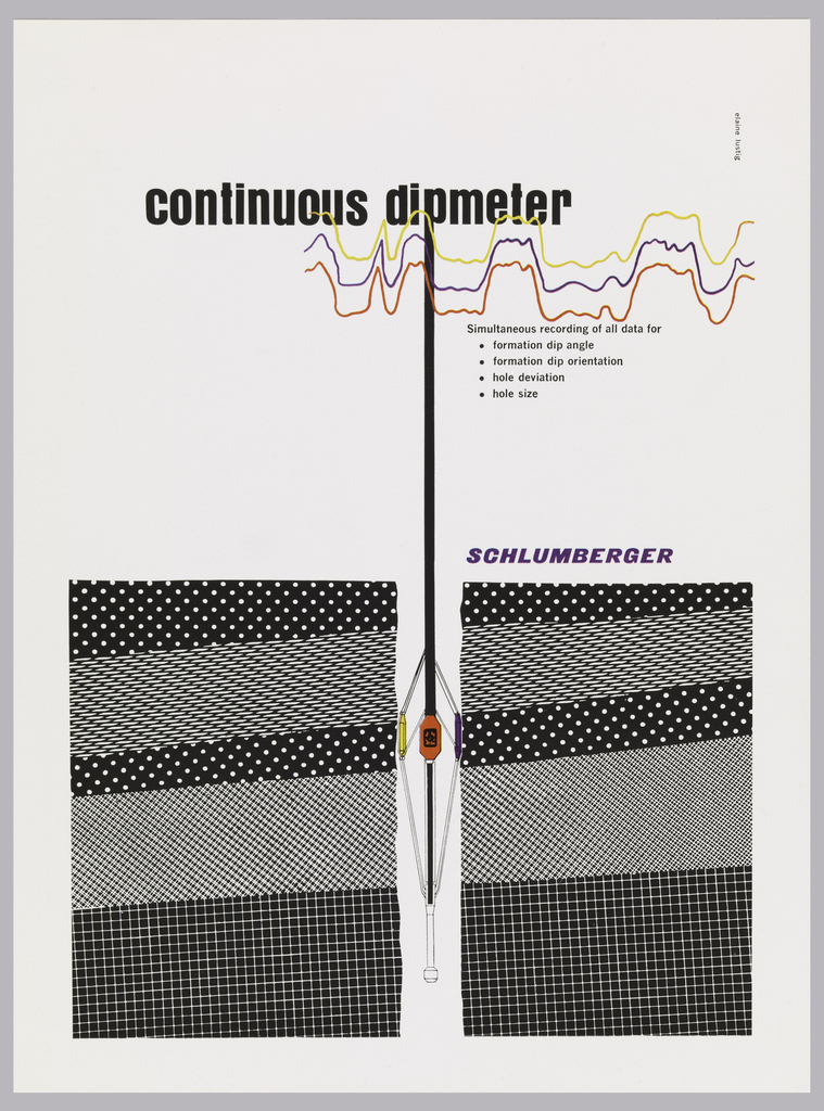 "Vertical format print advertisement tear sheet. At top, printed black text with product name and discription, three wavy lines in yellow, purple, and red. At bottom half of composition, layers of black and white patterns representing layers of the earth, two groups separated by the apparatus of the dipmeter product, which extends from the ""p"" in ""dipmeter"" at top, shown in black, white, red, yellow, and purple. The ad shows a drawing of the dipmeter underground and wave length activity above in yellow, purple and red."