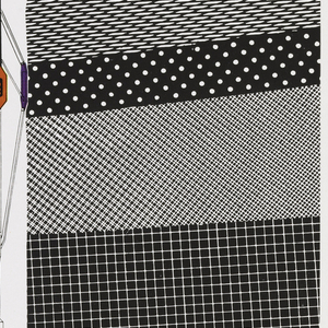 """Vertical format print advertisement tear sheet. At top, printed black text with product name and discription, three wavy lines in yellow, purple, and red. At bottom half of composition, layers of black and white patterns representing layers of the earth, two groups separated by the apparatus of the dipmeter product, which extends from the """"p"""" in """"dipmeter"""" at top, shown in black, white, red, yellow, and purple. The ad shows a drawing of the dipmeter underground and wave length activity above in yellow, purple and red."""