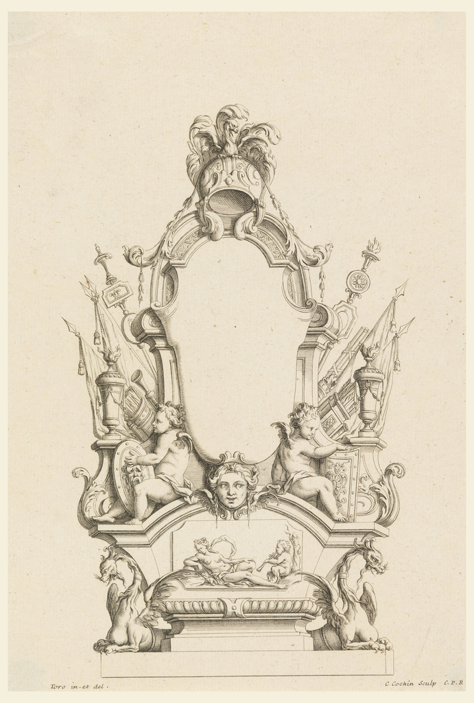 Empty cartouche framed with banners, scepter, garland, putti with shields and fasces, sheath of arrows; mask, below a nude woman with satyr; and two griffins.