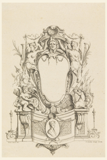Empty cartouche decorated with trophies, griffins, and large helmet with plumes, two nude female figures.