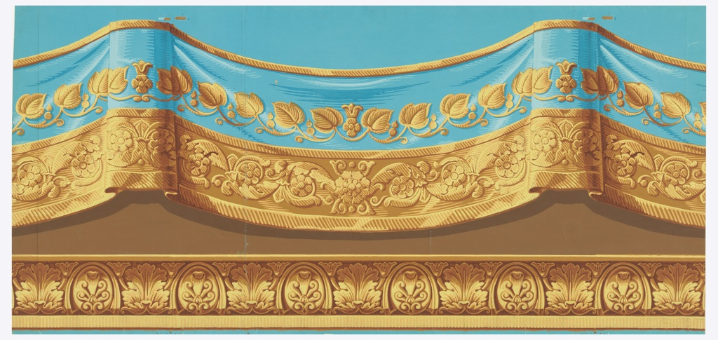Frieze with simulated festoon of drapery with embroidered border, above a simulated cyma reversa molding enriched with acanthus leaves and palmettes. Printed in blue, yellows, browns and orange. Horizontal rectangle.