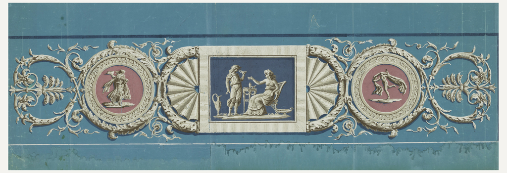 In center, horizontal rectangular medallion with two figures in grisaille; to right and left, semicircular radiating fluting. To right and left of these, circular pink medallions, each with a figure in grisaille. At either end, a termination in acanthus arabesques. Horizontal rectangle.