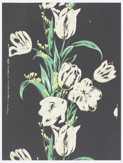 Very large white tulips in ascending vertical column. Small yellow flowers are interspersed with the bright green leaves which cluster about the tulip stems. A black ground. Drop match.