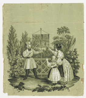 A man in a white smock shows the story of a murder to a woman and a little girl. He points to a sheet of four pictures which is suspended from the top of a pole which stands on the ground. Persons are dressed in clothes of the 1840s and are situated in a park or garden with balustrades at back; printed in black, white and shades of green on pale green ground.