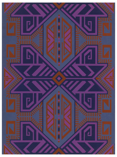 On blue ingrain paper, angular, large-scale, symmetrical geometric pattern in deeper blue, bright purple and strong red.