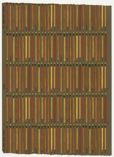 On brown ground, regular horizontal rows of vertically oriented pencils, outlined in black, colored bright red, orange, yellow and chartreuse. Children's wallpaper.