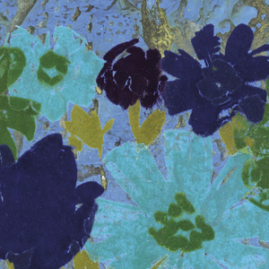 Large-scale floral design printed in blue, green and ocher flock, on silver Mylar ground.