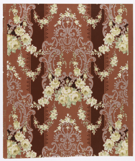Roses in shades of yellow with pastel green foliage, silvery mica scrollwork over alternating pink and maroon stripe.