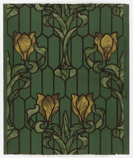 "Imitation stained glass design, with yellow tulip with green foliage and dark brown ""leading"" in art nouveau style."