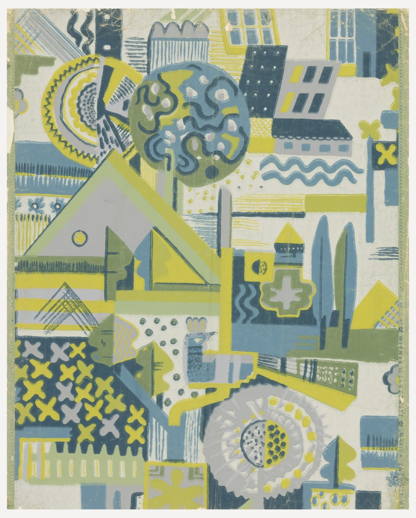 Geometric landscape pattern in shades of blue, green and gray printed on off-white ground.