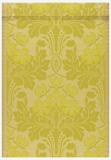 Stylized floral and foliate design, printed in two shades of yellow green. Large-scale acanthus leaves form basket for floral bouquet.