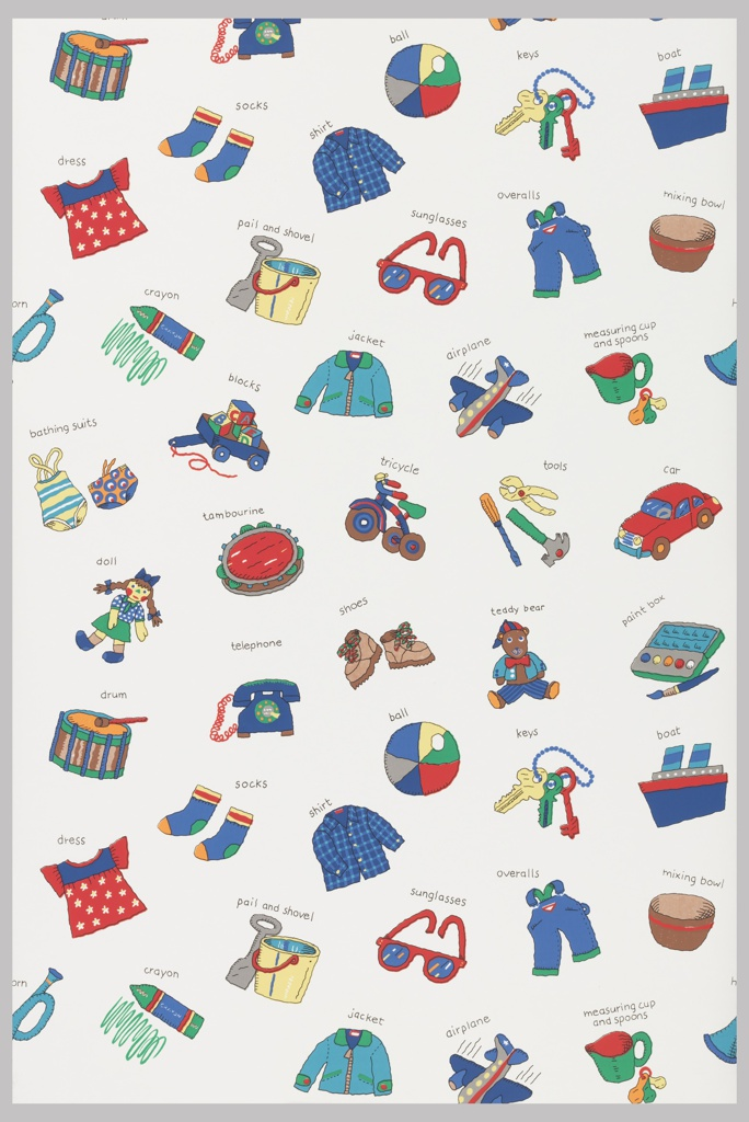 Children's toys and clothing, each image appearing with the name of object printed above. Printed in colors on white ground.