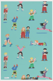 Children's paper showing children in a variety of play activities including doing handstands, jumping, holding a cat, dancing ballet, reading a book. Printed in bright colors on a turquoise ground.
