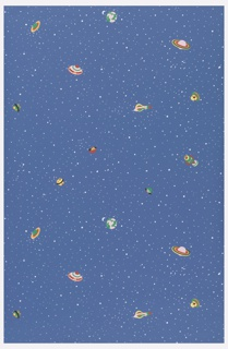 Children's paper with small space ships flying through space. Printed in colors on dark blue ground with small white spots.