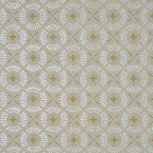 Allover trellis of white circles containing quatrefoils in tan on beige-gray ground.