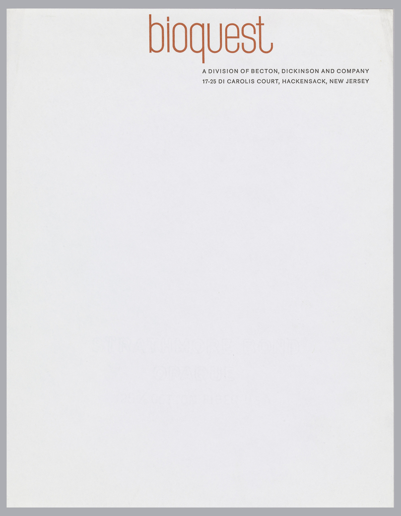 """Letterhead for Bioquest with orange and black printed text on white ground.  """"bioquest"""" appears in red-orange print at top center.  Beneath, aligned with the """"q's"""" descender, printed in black: A DIVISION OF BECTON, DICKINSON AND COMPANY; in black, below: 17-25 DI CAROLIS COURT, HACKENSACK, NEW JERSEY"""