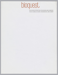 "Letterhead for Bioquest with orange and black printed text on white ground.  ""bioquest"" appears in red-orange print at top center.  Beneath, aligned with the ""q's"" descender, printed in black: A DIVISION OF BECTON, DICKINSON AND COMPANY; in black, below: 17-25 DI CAROLIS COURT, HACKENSACK, NEW JERSEY"