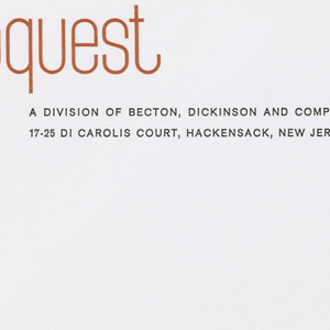 "Envelope for Bioquest with orange and black printed text on white ground.  ""bioquest"" appears in red-orange print at upper left.  Beneath, aligned with the ""q's"" descender, printed in black: A DIVISION OF BECTON, DICKINSON AND COMPANY; in black, below: 17-25 DI CAROLIS COURT, HACKENSACK, NEW JERSEY"
