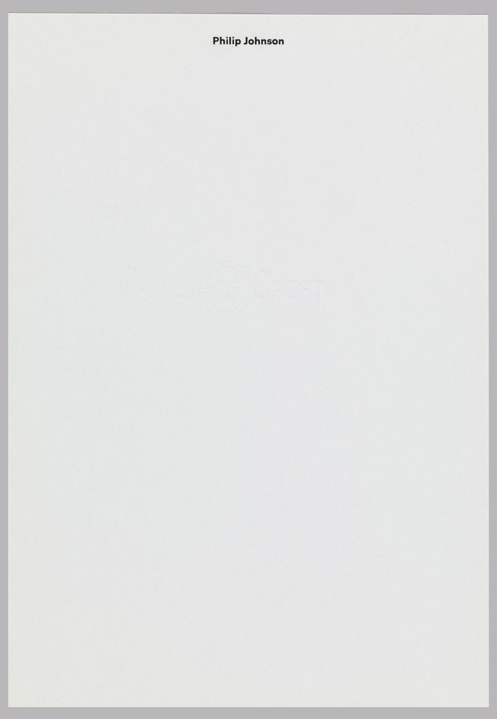 Letterhead for Philip Johnson.  Name printed at top center in black on white, translucent paper.