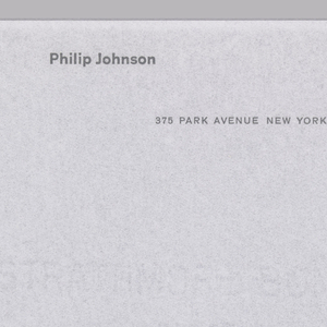 Letterhead for Philip Johnson. Printed text in black at top center.  Address follows beneath, aligned right.