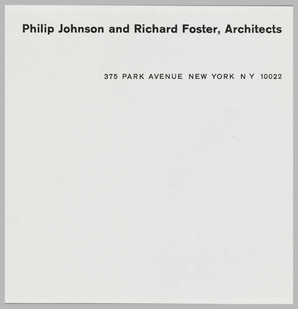 Shipping label for Philip Johnson and Richard Foster, Architects. Firm name is printed at top center in black, address following beneath, aligned right.