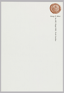 "Letterhead for George F. Scheer.  Wax seal, printed in red, appears top right.  Name appears in black below.  Address follows underneath, oriented vertically, running along the right edge.  Paper is translucent and watermarked with grid pattern and text, ""STRATHMORE WRITING 25% COTTON FIBER USA""."
