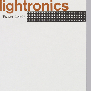 "Letterhead for Lightronics.  ""lightronics"" appears in red-orange at top right.  Stretching from below the ""r"" to the right edge of the page is a black horizontal bar studded with six rows of white dots, suggesting rows of lights. To the left, printed address in black."